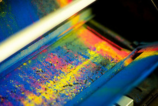 spilled toner on metal in many colors