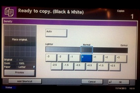 display screen on a copier
