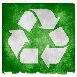 recycling symbol on green background