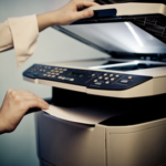 Hands pulling paper out of a printer