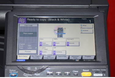 screen display on a multifunction copier