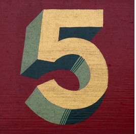 the number five on a red background